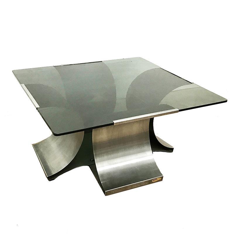 Tavolo Cristallo Anni 70.Tavolino In Acciaio E Vetro Anni 70 Stile Francois Monnet