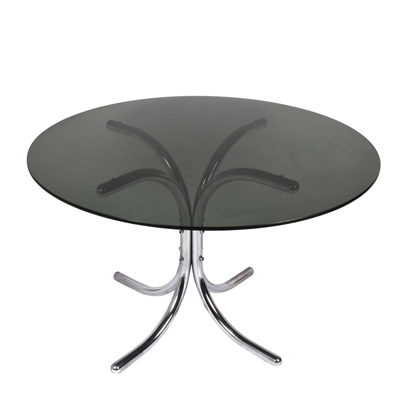 Tavolo Cristallo Design Anni 70.Tavolo Da Pranzo In Acciaio Cromato E Vetro Fume Italia