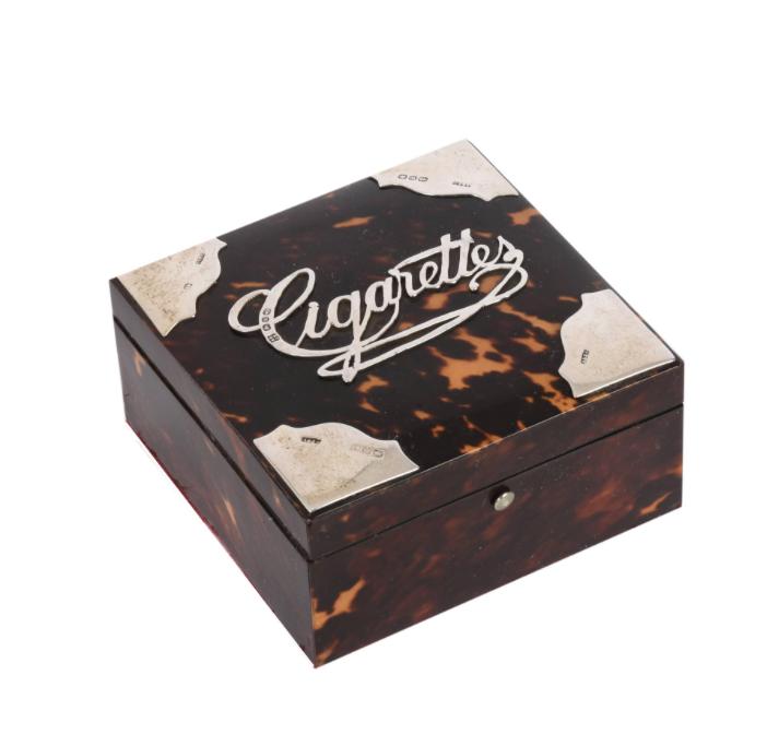 rthur & John Zimmerman or A & J Silver and TortoiseShell Cigarette Box, 1890s