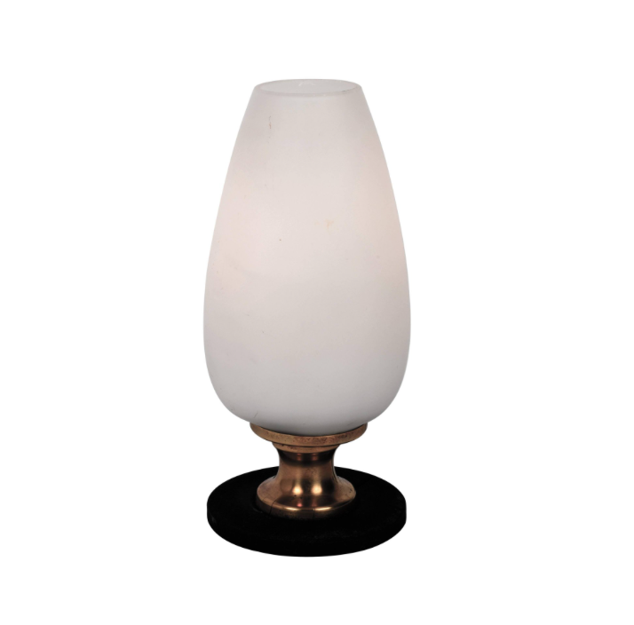 Stilnovo Attributed Small Opaline & Brass Table Lamp circa 1960, Italy Lighting
