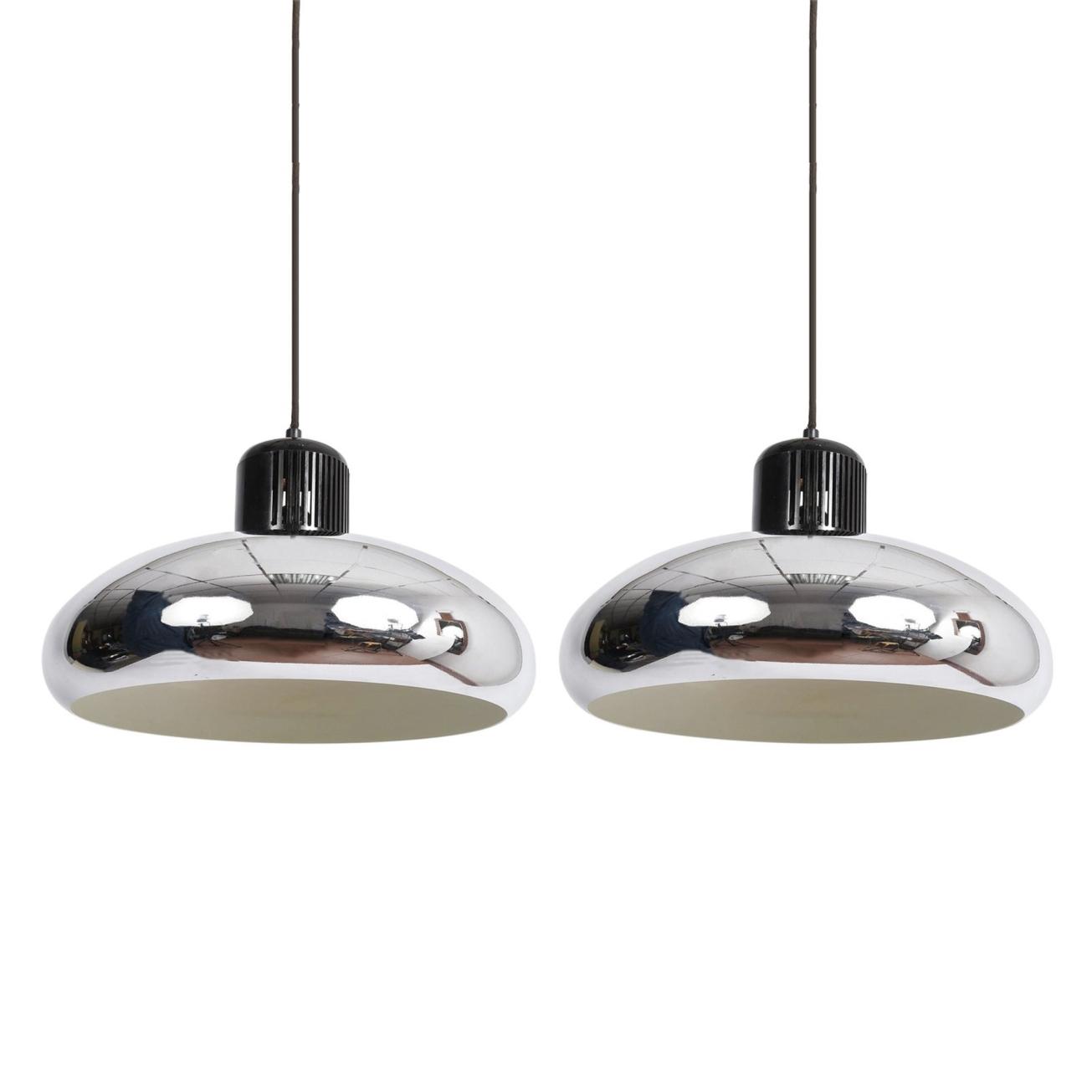 2 Coppia di lampade a sospensione Stilnovo Quarter Bell cromato, Italia anni '60 - Illuminazione