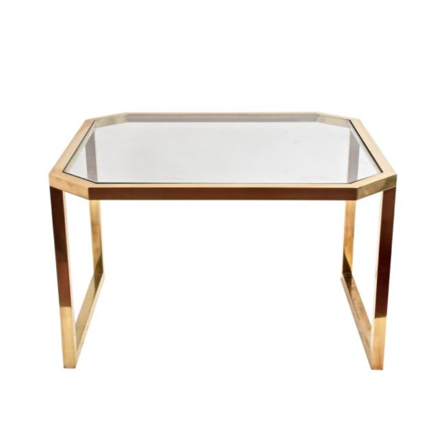 Ottagonale da tavolo in ottone e vetro, Italia, anni '70, metà secolo moderno