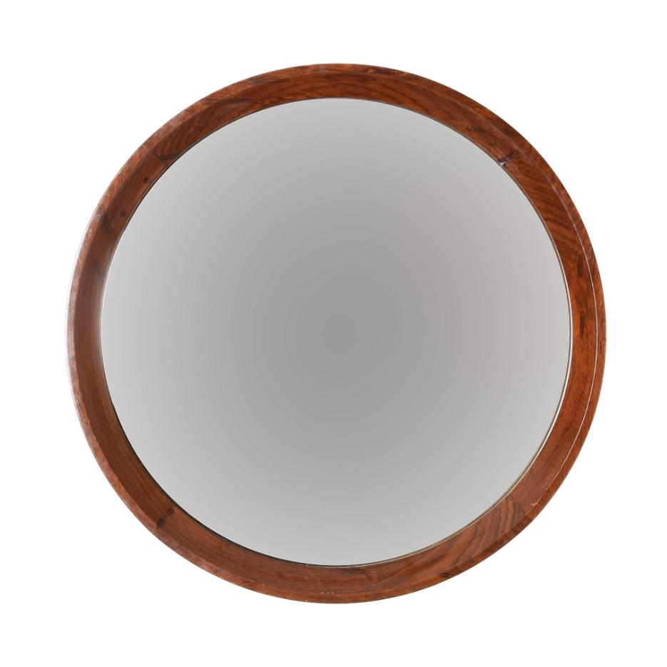 Specchio da parete rotondo con cornice in noce. Italia anni '70