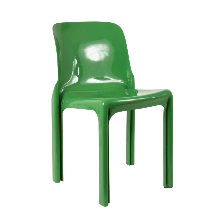 Sedia italiana di Vico Magistretti per Artemide, Selene Chair Green, Italia, 1969