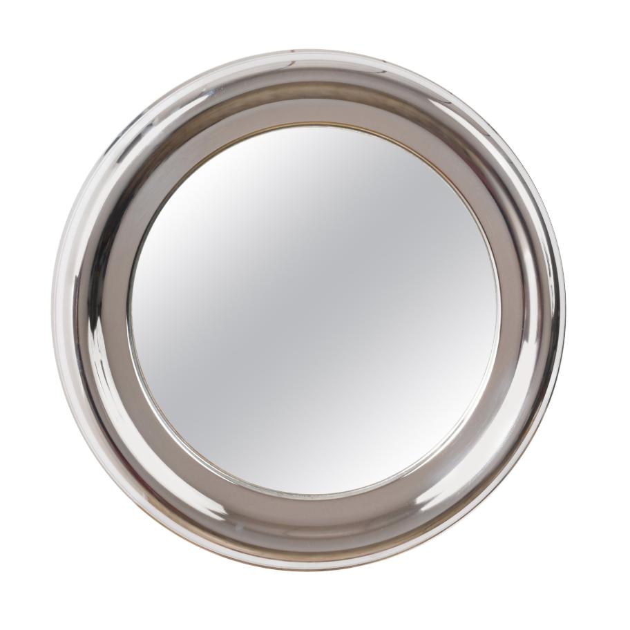 Specchio rotondo, vintage in acciaio, Italia anni '60 moderno, stile Artemide