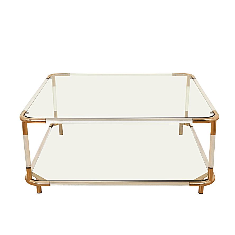 Tavolo da cocktail Charles Hollis Jones in acciaio lucido e ottone, piano in vetro a due livelli