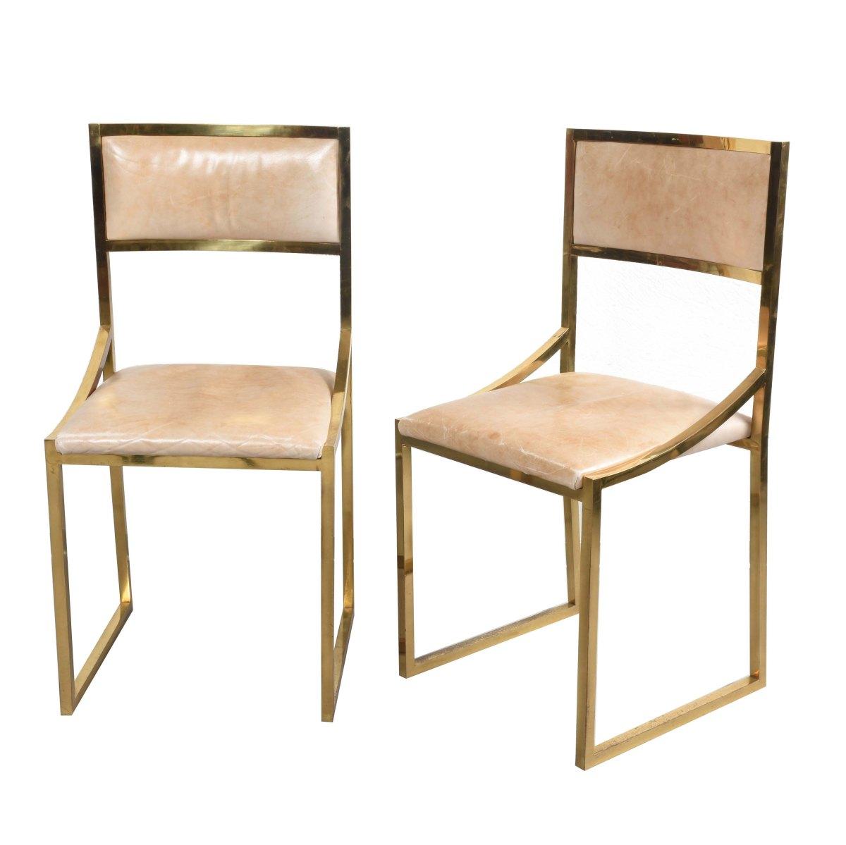 Willy Rizzo Design Set di sei sedie da pranzo in ottone e ...