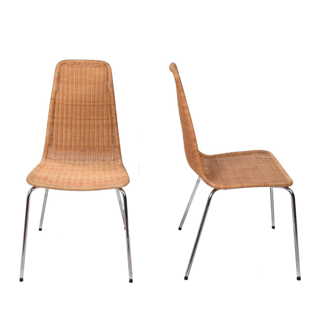 Sedie In Midollino.Sedie In Midollino E Metallo Cromato Italia Anni 70